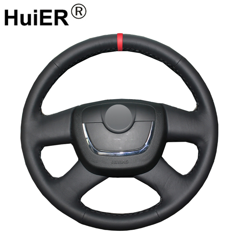 HuiER Hand Sew Car Steering Wheel Cover Red Marker For Skoda Octavia a 5 a5 2012 2013 Yeti 2009 Skoda Octavia Superb 2012 Fabia Steering Covers    - title=