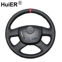 HuiER Hand Sew Car Steering Wheel Cover Red Marker For Skoda Octavia a 5 a5 2012 2013 Yeti 2009 Skoda Octavia Superb 2012 Fabia|Steering Covers|   -