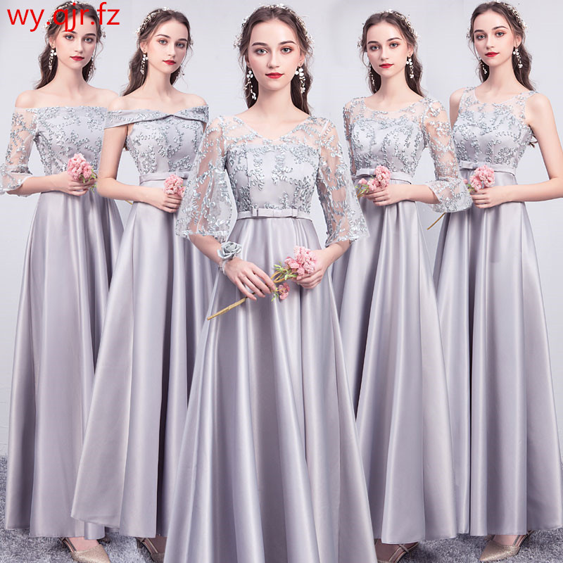 ASL-CK#Boat Neck Lace up Gary pink long twill satin   Bridesmaid     Dresses   Graduation wedding party   dress   gown prom women wholesale