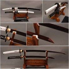 Delicate  Home Decoration Japanese Samurai Swords Set Folded Steel Blade Katana & Folded Steel Wakizashi  Sharp Japanese Knives