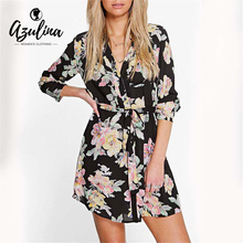 AZULINA Vintage Floral Print Chiffon Shirt Dress Women Spring Summer Long Sleeve Beach Boho Dress Mini Dress Vestidos robe femme