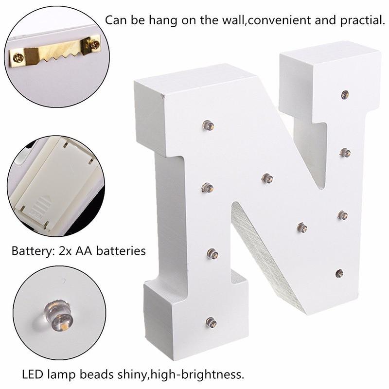 Lámpara LED de madera blanca de 6 pulgadas con letras LED, luz de pared interior de letras, luz nocturna, decoración para evento de boda, regalos
