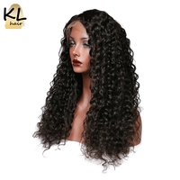 KL Hair Deep Wave Lace Front Human Hair Wigs Natural Color 1B Brazilian Remy Hair Lace