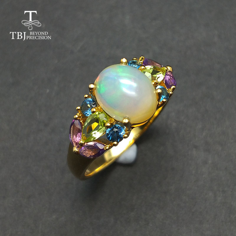 TBJ Natural Ethiopian Colorful Opal with topaz peridot amethyst gemstone Ring in 925 sterling silver for