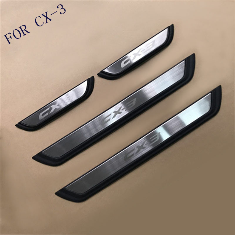 Auto Door Sill Scuff Plate Guard Welcome Pedal Cover Stickers Exterior Trim For <font><b>Mazda</b></font> CX-3 <font><b>CX3</b></font> 2017 2018 Car Styling <font><b>Accessories</b></font> image