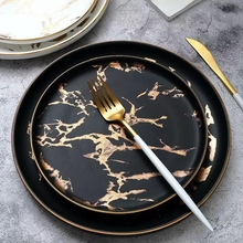 6 or 8 or 10 inch Gold Inlay Marble dinner plate Wholesale Unique matte black and white Dinnerware Set