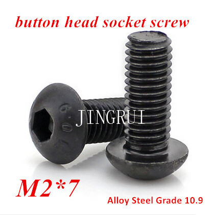 200pcs <font><b>M2</b></font>*7 Hexagon Socket Button Head Cap <font><b>Screw</b></font> Grade 10.9 Alloy Steel ISO7380 <font><b>M2X3</b></font>/4/5/6/8/10/12/16/20/25/30/35mm image