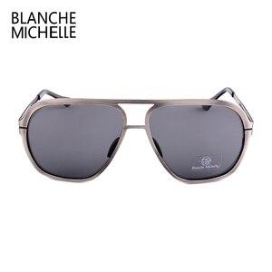 Image 5 - Blanche Michelle 2019 Yüksek Kalite Paslanmaz Çelik Polarize güneş gözlüğü Erkekler UV400 Kare güneş gözlüğü lunette soleil homme