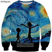 Van Gogh Oil Painting Rick and Morty 3D Print Sweatshirts Men/women Gothic Streetwear Hoodies Boys Hipster Blue Tops Clothes 5XL