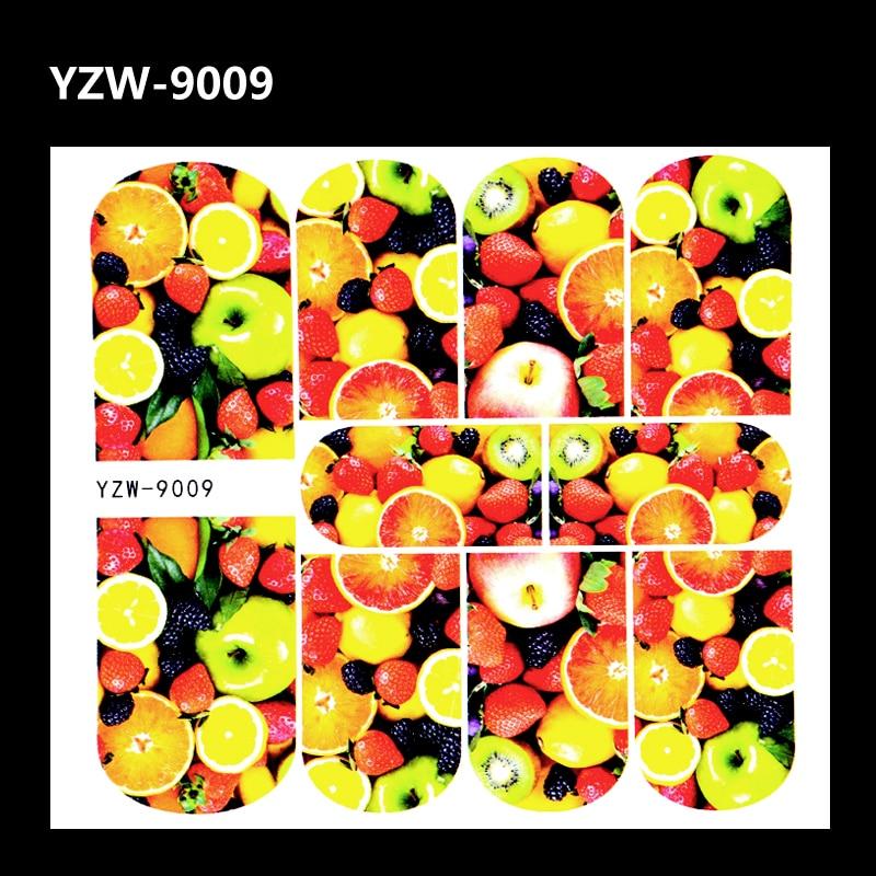 YZWLE 1 Лист 3D Фрукты Изображение Татуировки Ногтей Наклейки Яблоки Черничный Orange Вода Трансферы Наклейки Украшения Для Diy Ногтей