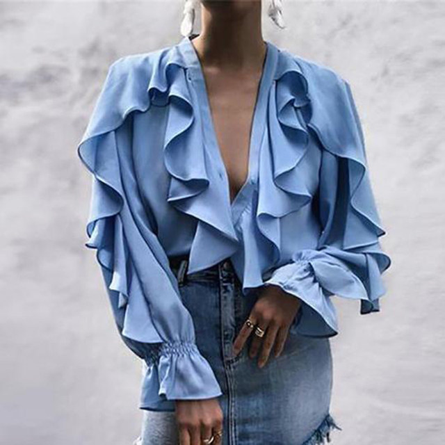 Celmia Stylish Tops Summer Ruffled Blouse Women Sexy V neck Long Sleeve Shirts Female Casual Buttons Street Blusas Plus Size 5XL 22