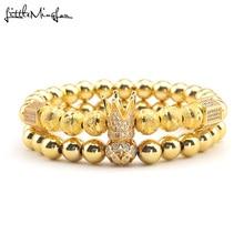 Luxury crown Bracelet Pave Cubic Zirconia flower ball charms copper beads men Bracelets & bangles for men jewelry drop shipping цена