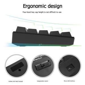 Image 5 - RK61 אלחוטי Bluetooth מכאני משחקי מקלדות Slim 61 מפתחות אחד RGB LED עם תאורה אחורית רב מכשיר ירוק מתג מקלדת