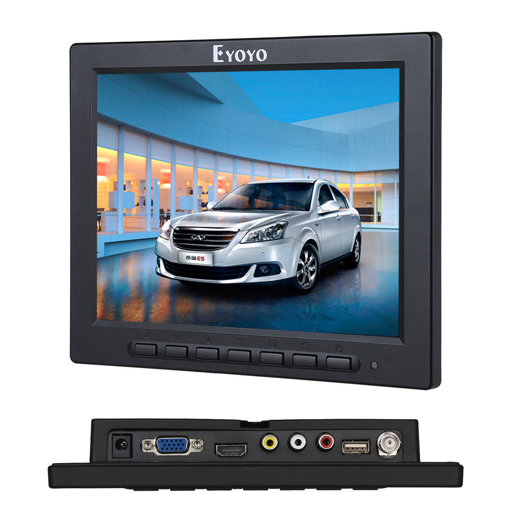 Eyoyo 8 Inch TFT LED Video Audio VGA HDMI BNC HD Monitor 4:3 Screen For DVR PC CCTV Free shipping escam t10 10 inch tft lcd remote color video monitor screen with vga hdmi av bnc usb for pc cctv home security system camera