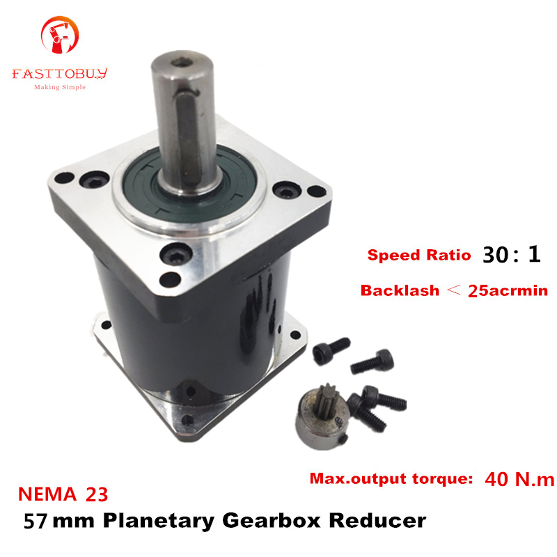 High Precision NEMA 23 Ratio 30 1 Planetary Gearbox 25 acrmin Planetary Reducer for NEMA23 57mm