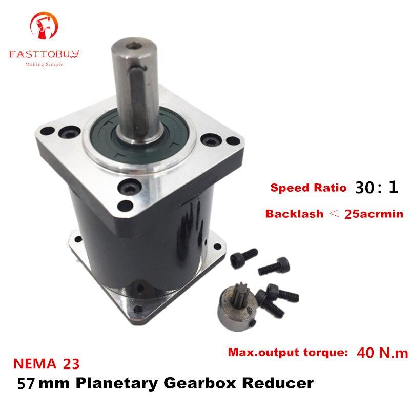 High Precision NEMA 23 Ratio 30:1 Planetary Gearbox 25 acrmin Planetary Reducer  for NEMA23 57mm Servo / Stepper Motor 57XG-30High Precision NEMA 23 Ratio 30:1 Planetary Gearbox 25 acrmin Planetary Reducer  for NEMA23 57mm Servo / Stepper Motor 57XG-30