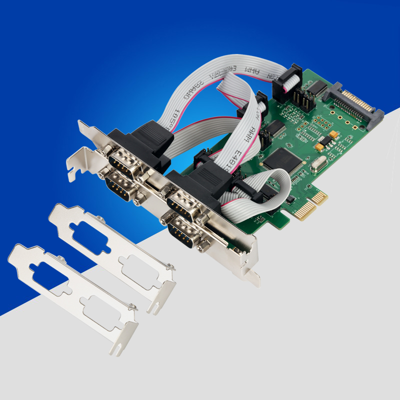PCI E PCI Express to 4 Port RS232 Serial Card RS 232 Signal COM Card 1pin or 9 feet Power Supply Serial Port DB9 PCIe Controller