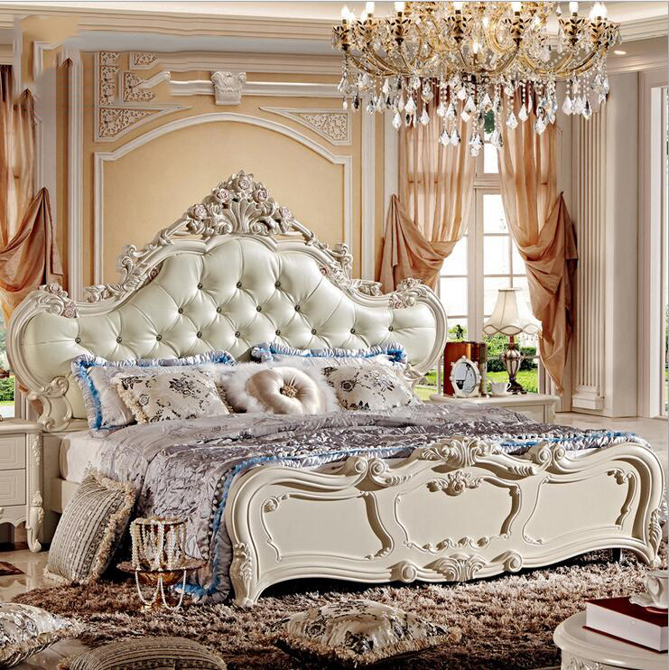 Modern European Solid Wood Bed Fashion Carved  Leather  French Bedroom Furniture 10047