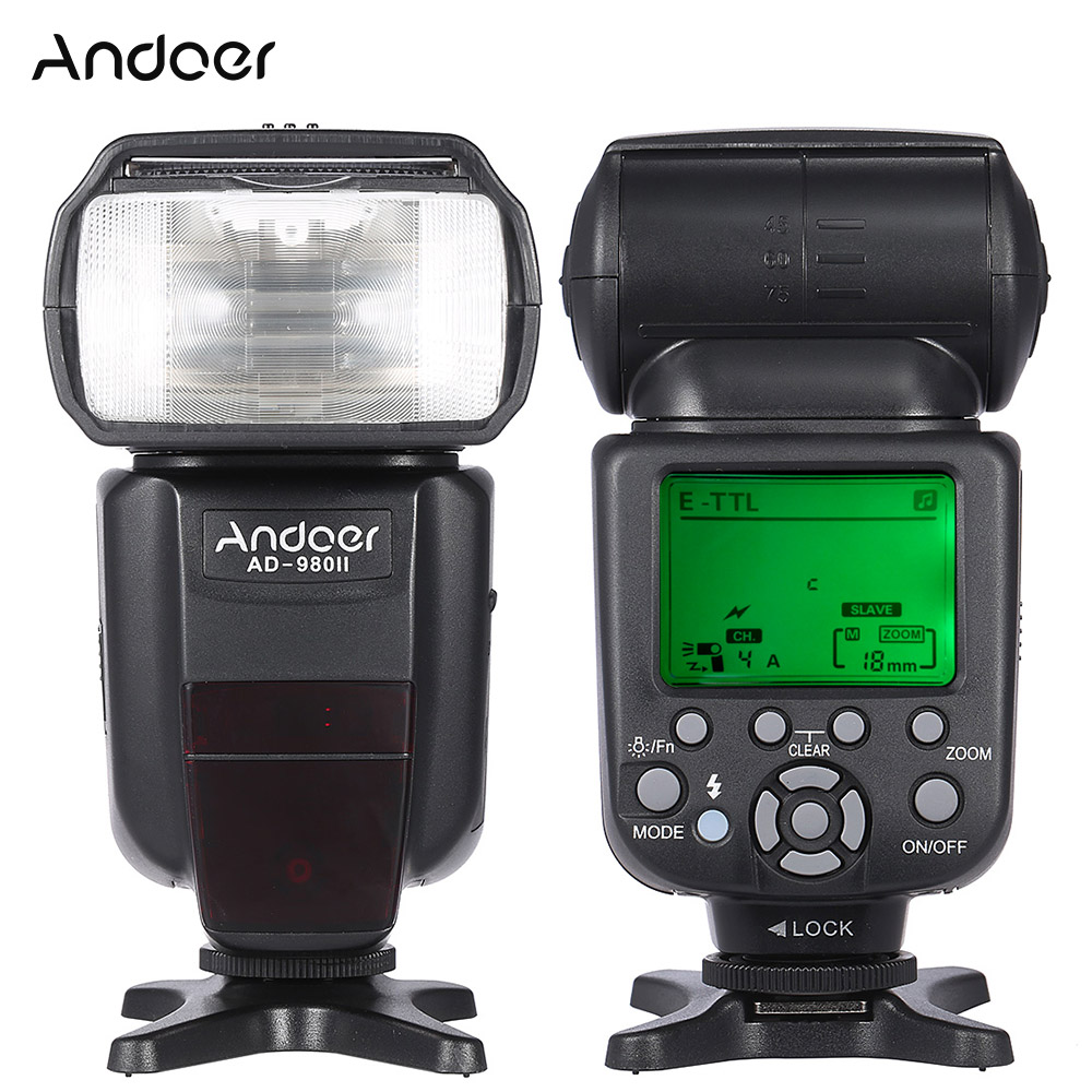 Andoer AD 980II E TTL HSS 1/8000 s maître esclave GN58 Flash Speedlite pour Canon 5D Mark III/5D Mark II/6D/5D DSLR caméra-in Clignote from Electronique    1