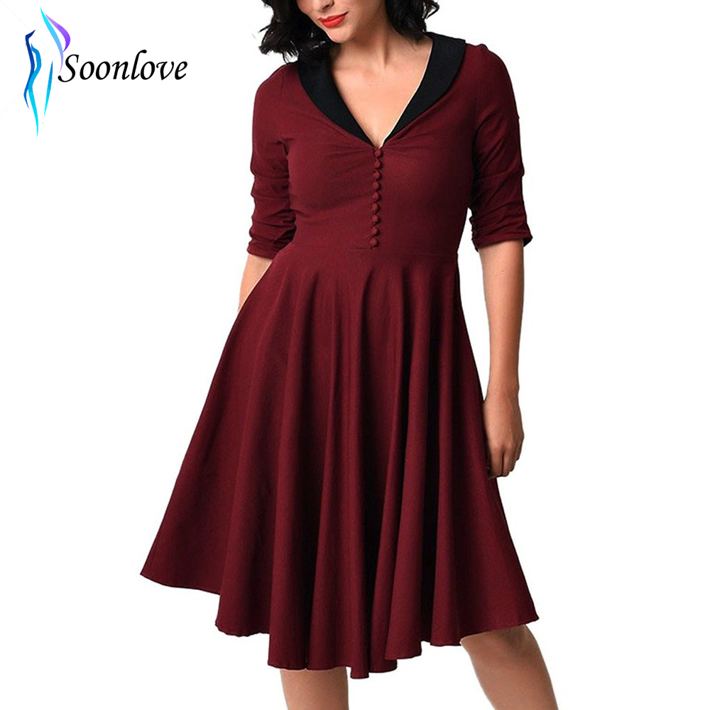 Elegant Red Black Dress Autumn S Xl Plus Size Half Sleeve 1950s Torch Tshirt Women Burgundy Maroon 60s Swing Retro Picnic Party