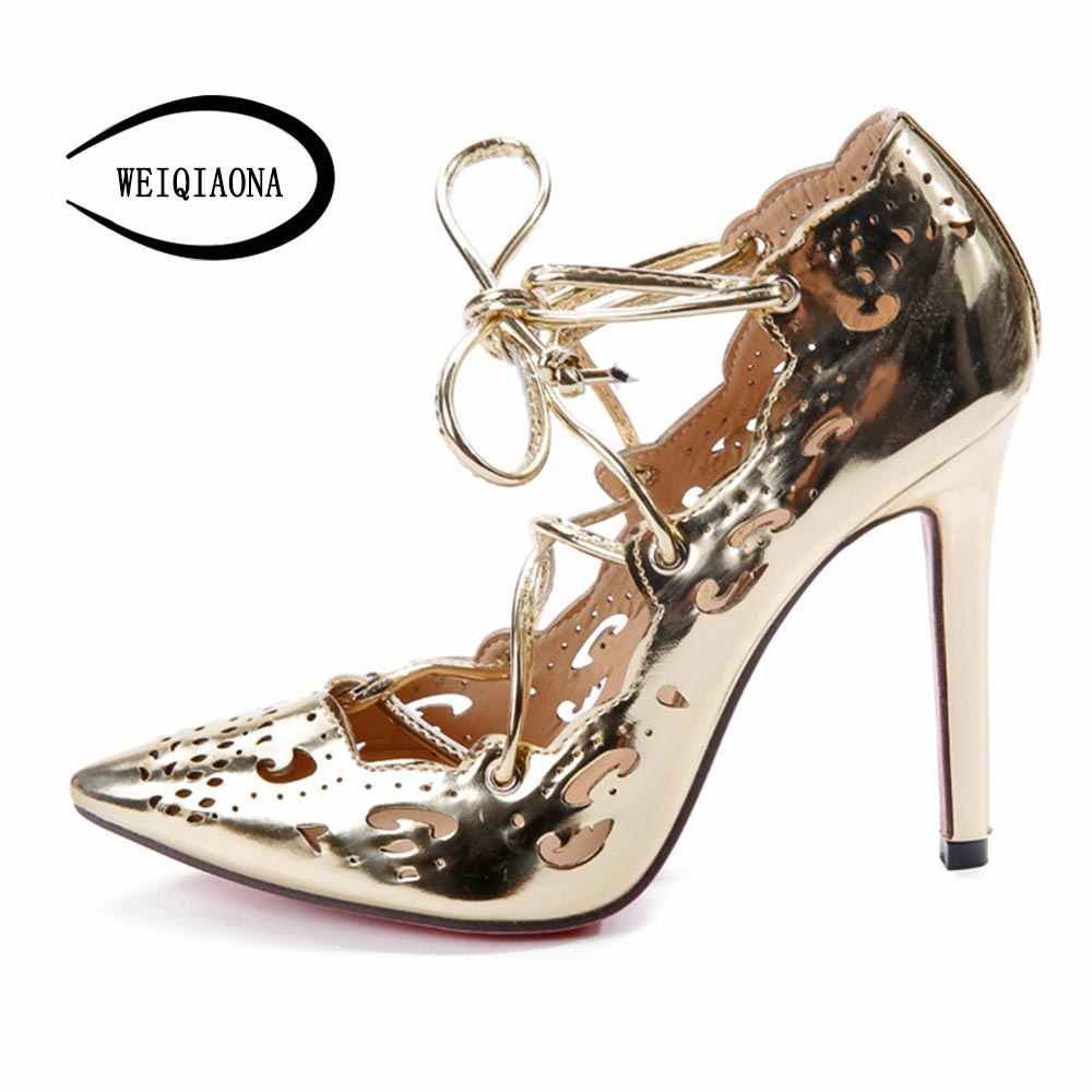 531429e22a7 WEIQIAONA 2019 Women Pumps Brand Sexy High Heels Wedding Party Woman Shoes  Gold and White Heels Zapatos Mujer Plus Size 35-43