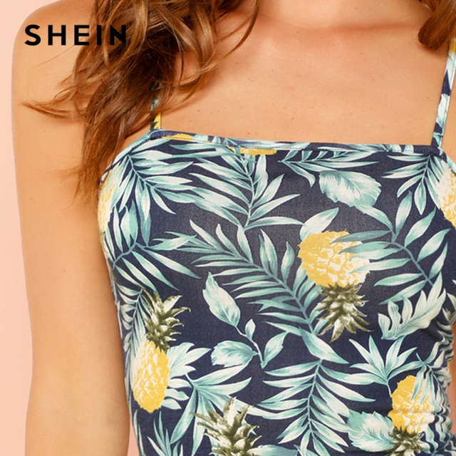 SHEIN Allover Pineapple Tropical Print Cami Dress Multicolor Sleeveless Sheath Mini Dresses Women Summer Vacation Beach Dress 2
