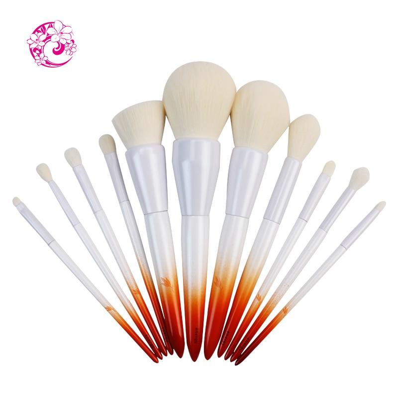 Ensembles et Kits professionnels de marque ENERGY 11 pièces brosse en Nylon cheveux manche en bois pinceau de maquillage fy0