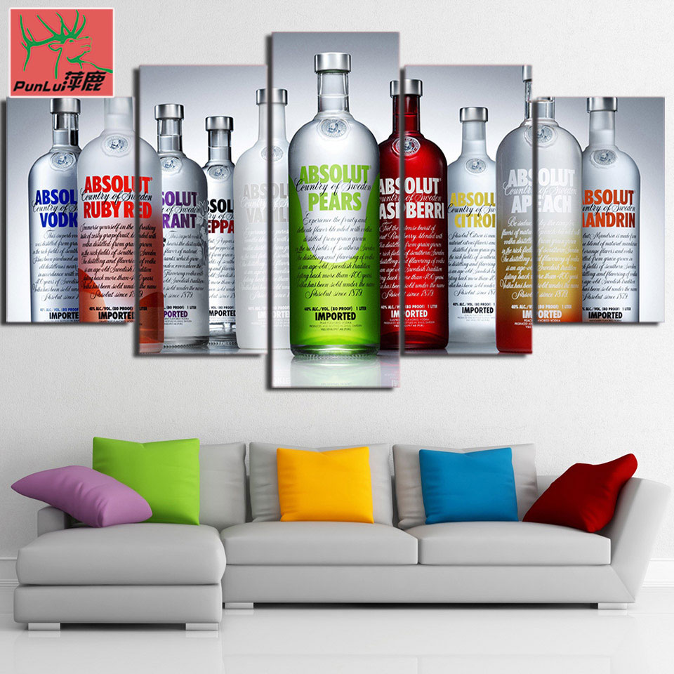 US $7 0 |HD Print 5 Piece canvas art Absolut Vodka paintings for living  room wall home decor Free Shipping pl 6562A-in Painting & Calligraphy from