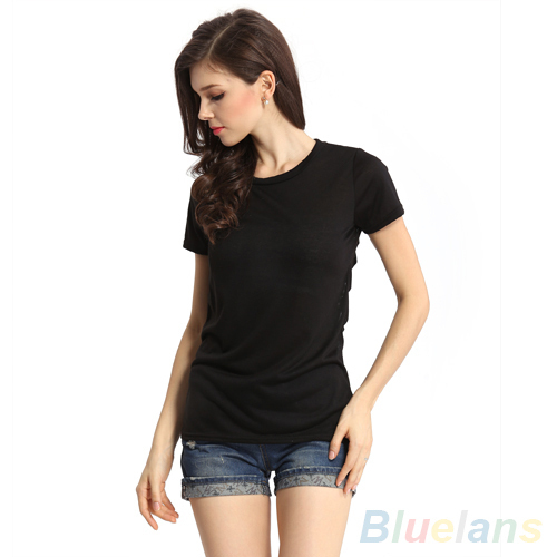 New Sexy Womens Hollow Out Cotton Short Sleeve T-shirt Tops hot