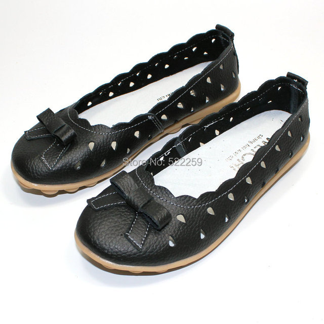 [(My God)] HOT Genuine leather cow muscle female sandals outsole casual shoes cutout women flats heel mother work Cozy 2014 new