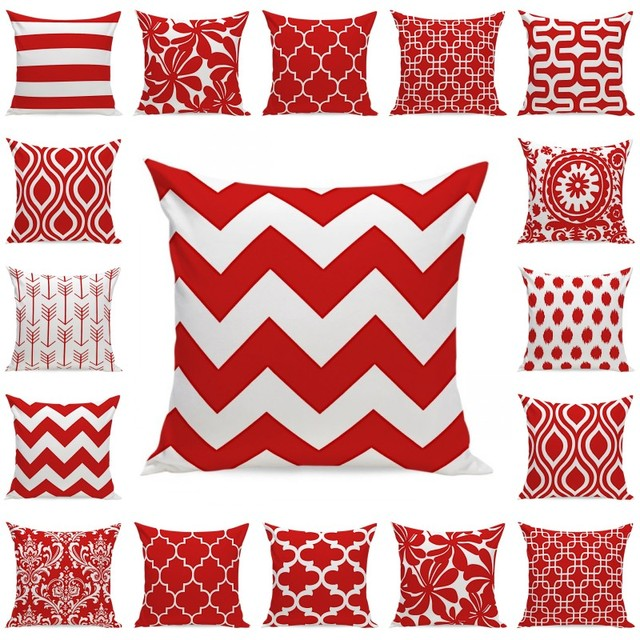 Nordic Cushion Red White Decorative Velvet Geometric Cushions Covers