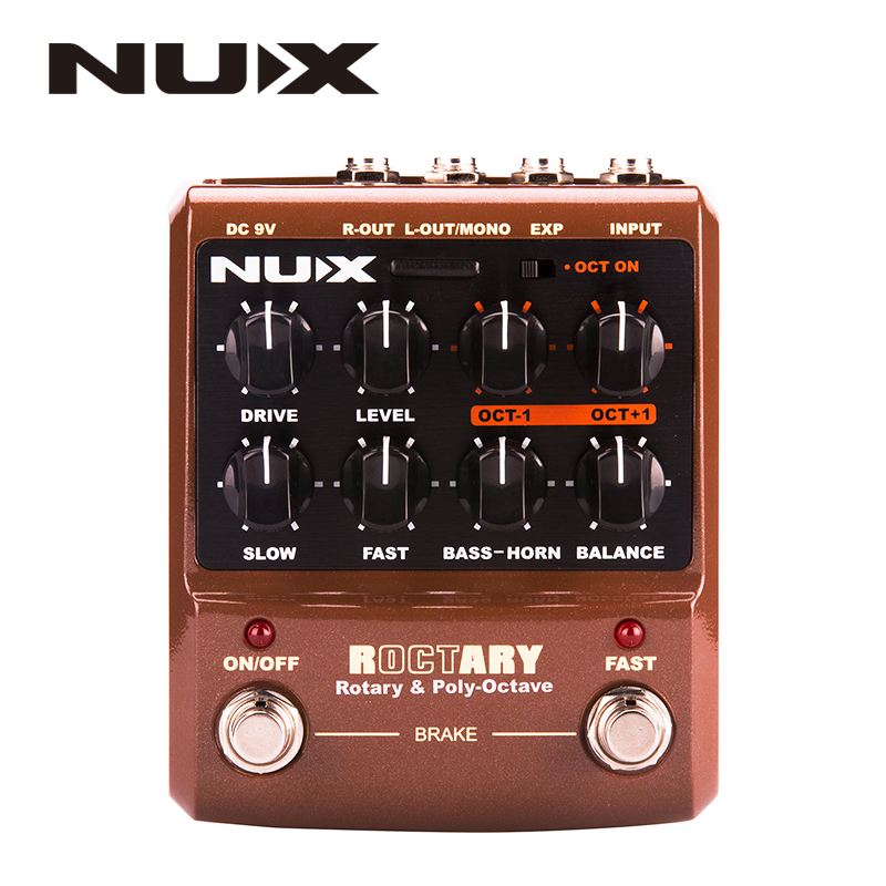 NUX ROCTARY Simulator & Polyphonic Octave Guitar Pedal Stomp Boxes Force series Roctary Force effects polyphonic octave effect nux amp force guitar effect pedal stomp boxes dsp modeling amp cabinet simulator 9 user presets true bypass