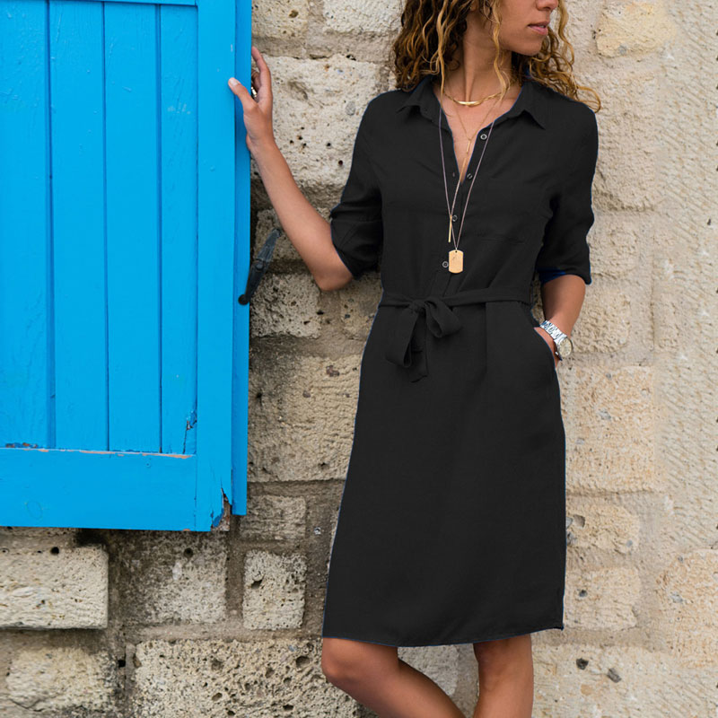 Turn-down Collar Half Sleeve Lacing Shirt Dress Casual Solid Pockets Knee-length Dresses Ladies Fashion Straight Dress Autumn