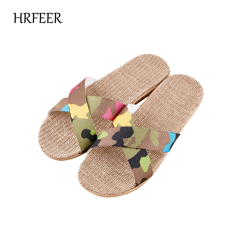 HRFEER 2018 Fashion Flax Home Slippers Indoor Floor Men Shoes Cross Belt Silent Sweat Slipper for Summer Women Sandals Plus Size 2017 fashion flax home slippers indoor floor shoes belt silent sweat slippers for summer women sandals unisex flip flops af433