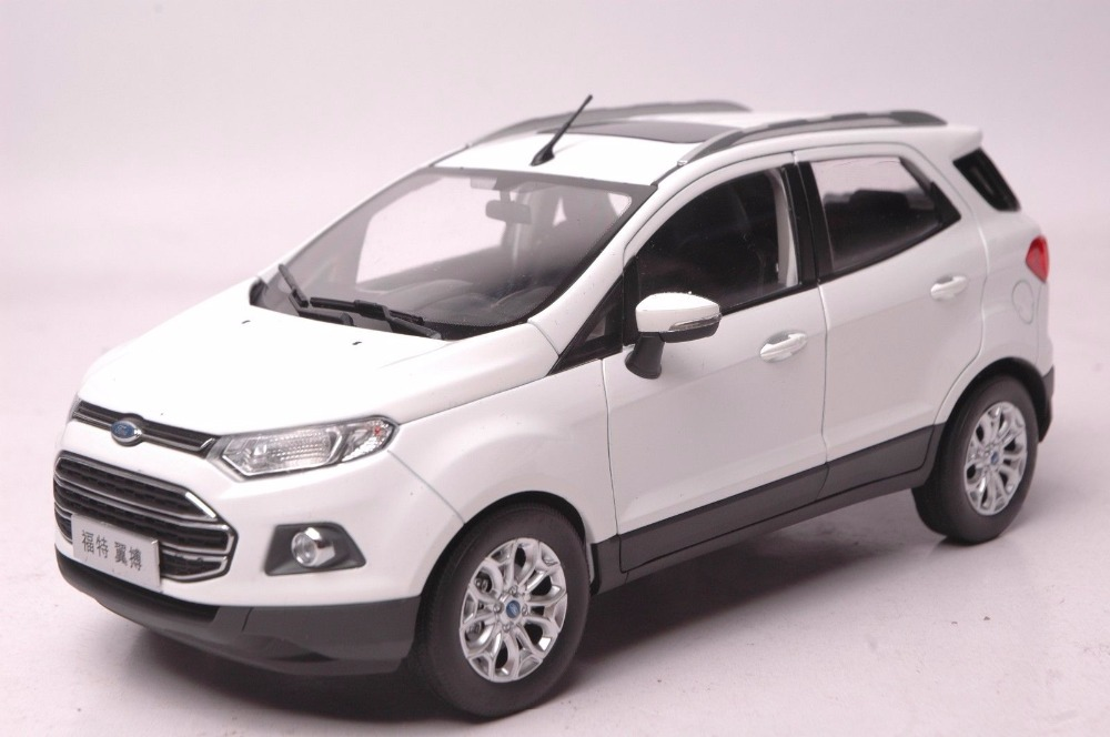 1:18 Diecast Model for Ford ECOSPORT 2015 White Mini SUV Alloy Toy Car Miniature Collection Gifts 1 18 toyota highlander 2015 diecast suv car model white color