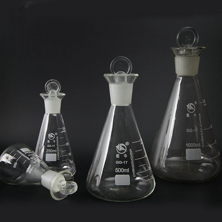 1pc 50ml to 1000ml Glass erlenmeyer flask, conical flask bottle with glass cover