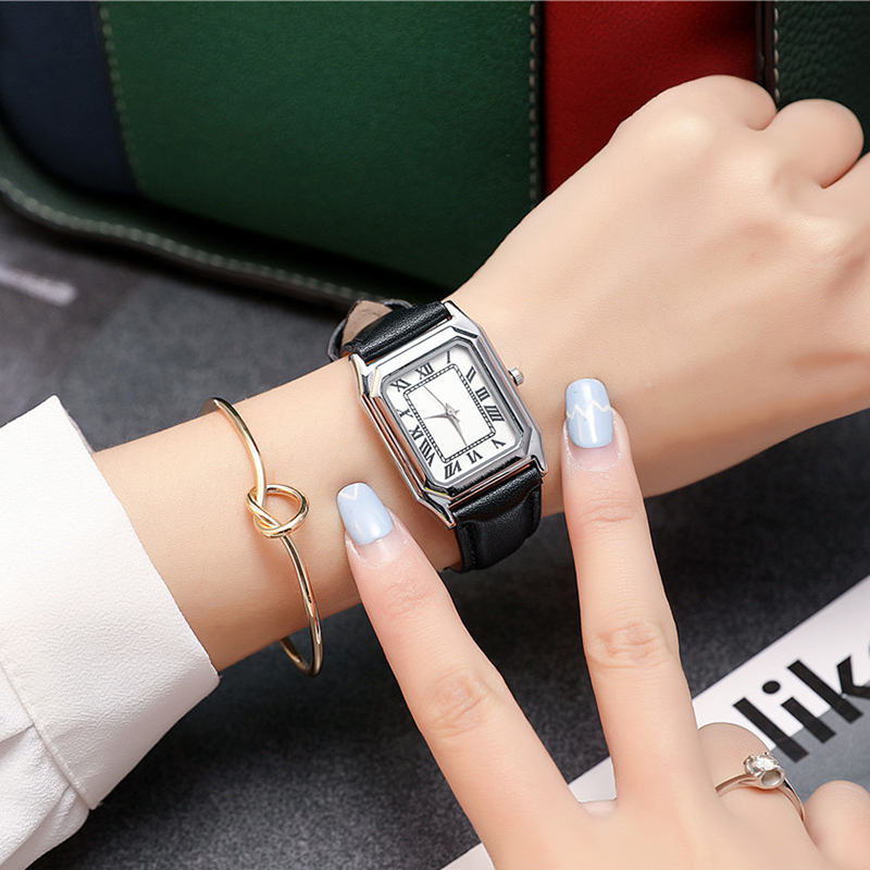 2018 New Arrival Soft Leather Strap Women Watch Ladies Fashion Casual Quartz Wristwatch Female Rectangle Dial Design gift watch new arrival bamboo men wristwatch classic arabic number dial genuine leather band strap trendy gift quartz watch