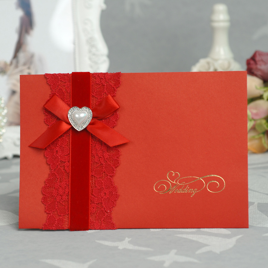 Red Color Wedding Invitation Card with heart shape rhinestone decoration-in Cards & Invitations from Home & Garden on Aliexpress.com | Alibaba Group