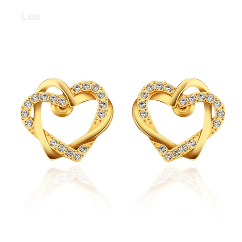 E747 Yellow Gold 18k Heart Shape Two Cute Earring The Lastest Designs Hot Earrings In Stud From Jewelry Accessories On