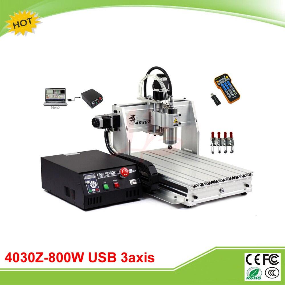 Free tax to EU 4030Z-800W USB 3 axis mini CNC engraving machine with mach3 remote control 3d cnc router 3040z usb mach3 control cnc engraving machine free tax to eu countries