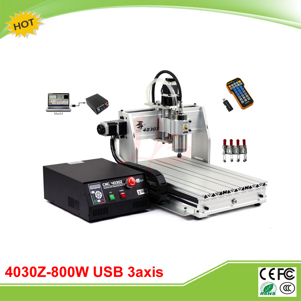 Free tax to Russia 4030Z-800W USB 3 axis mini CNC engraving machine with mach3 remote control new usb mach3 three axis 4030z 3040 800w cnc router engraver engraving machine