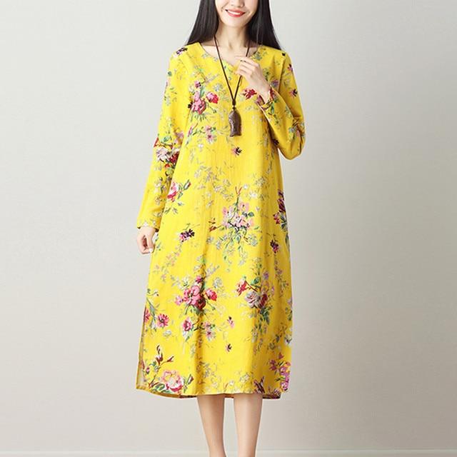 64714e210d8cf ilstile 2018 Women s Long Sleeve Floral Print Midi Dress Cotton Linen Casual  A-Line Kaftan V Neck Spring Vintage National Dress