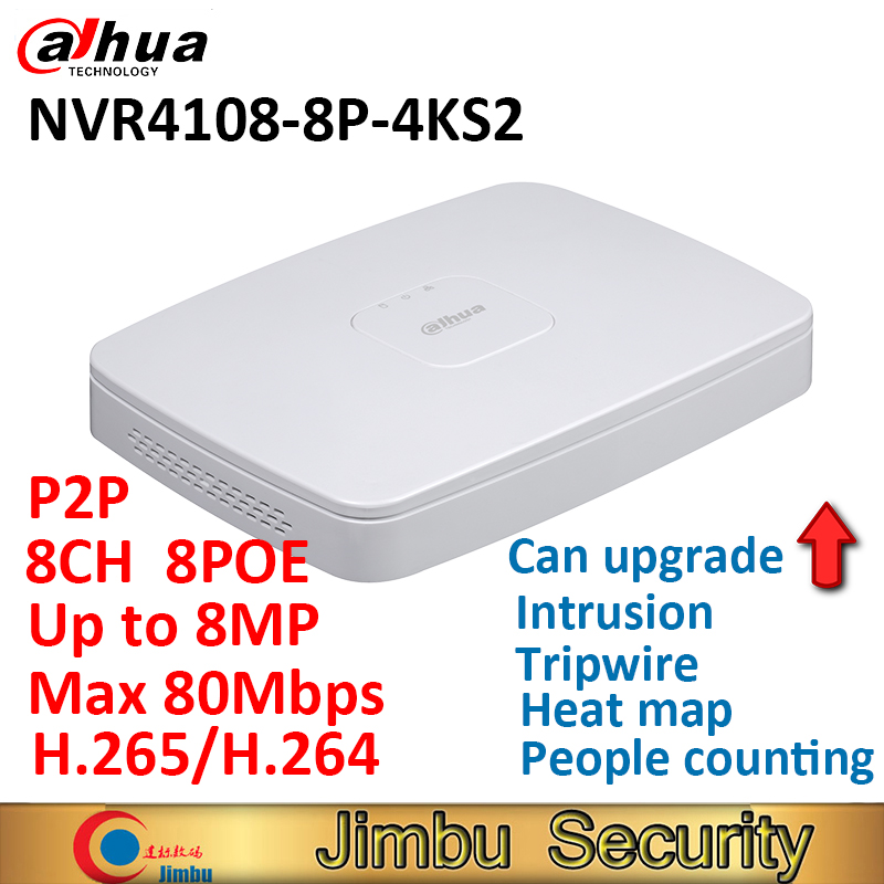 Dahua CCTV network DVR Video Recorder NVR4108-8P-4KS2 8CH Smart 1U 8PoE port 4K&H.265 Up to 8MP Resolution Max 80Mbps new hot sell dahua 8ch nvr h 264 1080p network video recorder nvr4108 8p smart 1u support english firmware and onvif