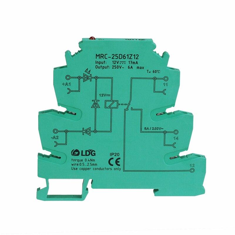 MRC-25D61Z12  10pcs 6A 12VDC electromagnetic contact input DC12V ultra-thin interface relay switch PLC module relay block