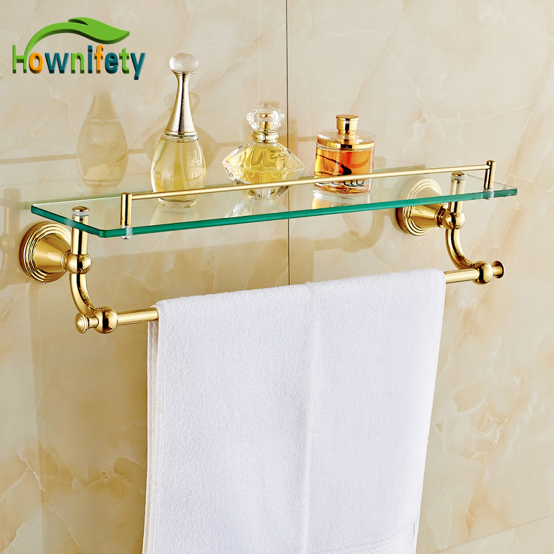Gold Finish Bath Wall Mounted Storage Shelf Cosmetic Rack