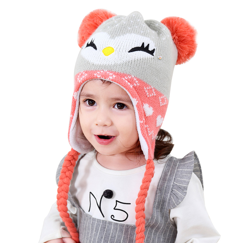 dfa6ac998 Cartoon Cat Baby Hat For Girls Winter Warm Velvet Beanie Ear Protect Knitted  Kids Hat Thick Crochet Baby Girls Hat With Pompoms