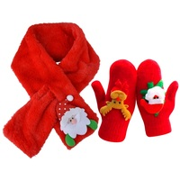 Winter Scarf Gloves Set Santa Claus Scarf Deer Mittens for Kids Girls Cashmere Scarves for Women Christmas Gifts