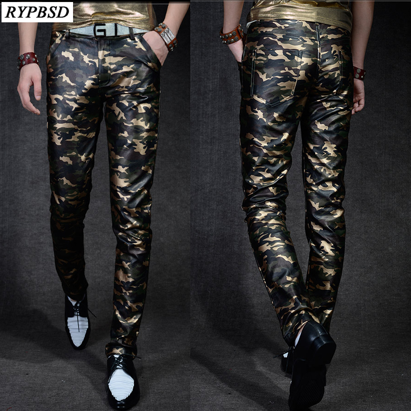 Men 's Leather Trousers Slim Fit Camouflage Pants Men Autumn New Fashion Casual High Quality PU Faux Leather Pants Military Men