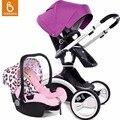 Babysing 3 em 1 carrinhos de bebê carrinho de criança de luxo alta paisagem 360 rotação tampa do bebê carrinho de bebé pram com alcofa e berço