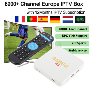 Aibee Android TV Box with 1 Year IPTV code Smart IPTV Arabic French